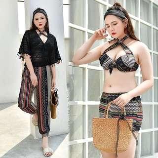 Plus Size Aztec Tribal Print Halter Neck Bikini V Neck Outerwear Long Pant 4 Piece Swim Wear