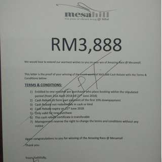 Mesahill Property Rebate Voucher for new buyer