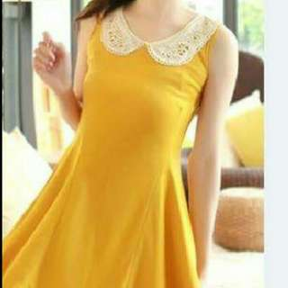 Yellow Korean Dress With Korean Style Crochet Collar