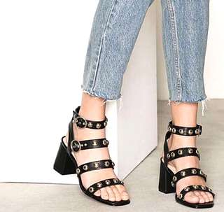 Asos River Island Black & Gold Studded Chunky Heels Sandals Shoes 38 7
