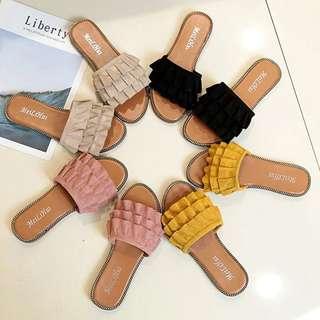 甜美韓版時尚木耳花邊設計一字拖鞋夏季氣質百搭平跟女鞋外穿涼拖