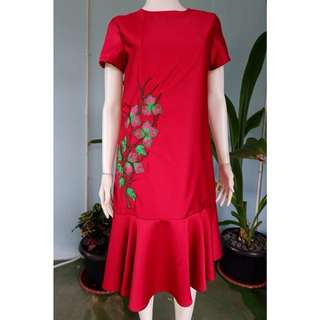 [BARU] Red Midi Dress 01