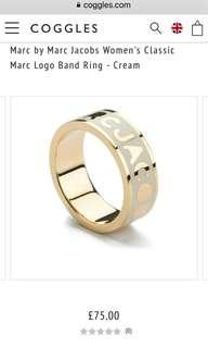 全新米色Marc By Marc Jacobs 戒指 $300 New Marc by Marc Jacobs Women's Classic Marc Logo Band Ring - Cream