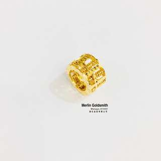 916 Gold Laser Cut Loop Abacus Pendant / 916 黃金算不完算盘 (0.8mm inside diameter )