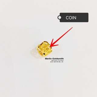 916 Gold Laser Cut Loop Abacus Pendant / 916 黃金算不完算盘 (0.5mm  inside diameter )