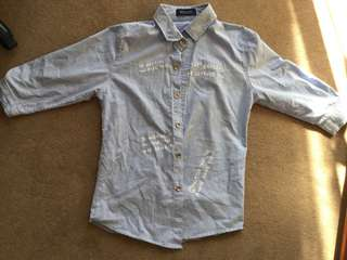 Text denim style shirt