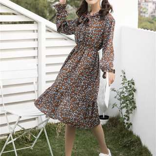 RETRO FLORAL CHIFFON DRESS