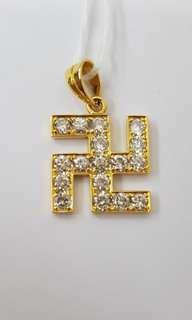 18K YG Swastika Diamond Pendant