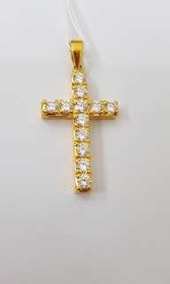 916 YG Diamond Cross Pendant