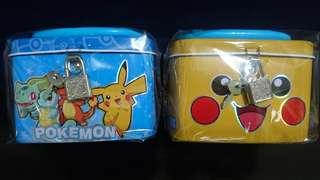 精靈寶可夢 手提方型  附鎖存錢筒兩色