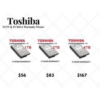 Toshiba CCTV&AV Drive 3 year warranty
