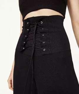 High waist braided 3/4 flair pants