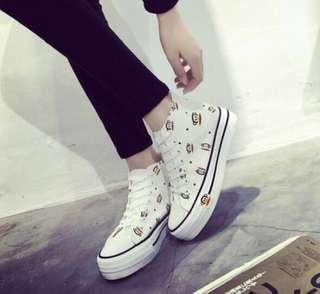 High cut flat wedge sneakers