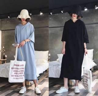 (XL~5XL) Korean version of the loose long hooded sleeve short-sleeved sweater dress casual dress