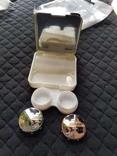 隱形眼鏡盒兩個 銀色 銀粉色