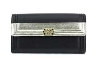 Chanel Boy Bi-Coloured Zipper Wallet