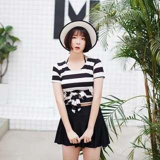 Plus Size Bikini Stripes Short Sleeve Crop Top Skirt 3 Piece Swim Wear
