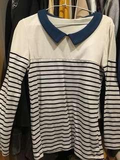 🚚 (二手)假領條紋顯瘦上衣