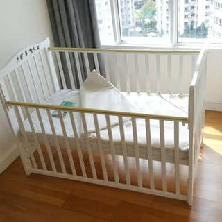 (Reduced) Babylove Baby Cot & Mattress