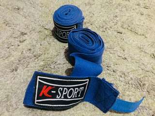 Blue cotton boxing hand wraps