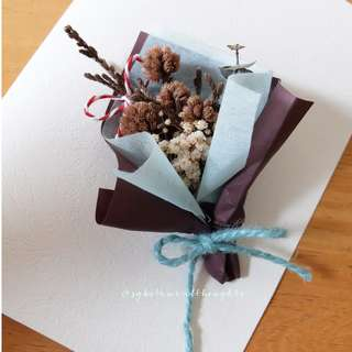 Handmade Dried Flowers Bouquet Card / Decoration