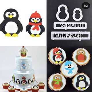 Mommy and baby penguin cutter set