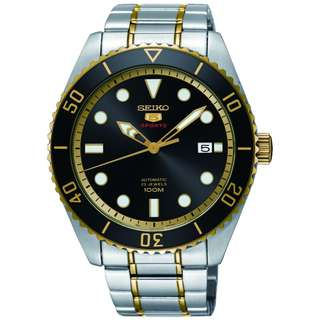Seiko 5 Sports SRPB94K1 Submariner Black Gold Jam Pria SRPB94 Automatic