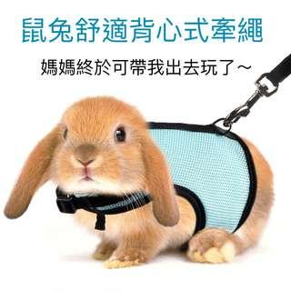 【遛鼠遛兔神器】鼠兔外出舒適牽繩 背心式牽繩牽引帶 小型寵物用 天竺鼠豚鼠倉鼠兔兔毛小孩 網狀牽引繩 兔子衣服 穿脫方便