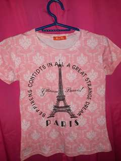 Pink Shirt With Printed Eifel Tower