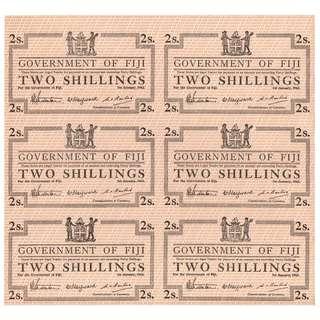 1942年英屬菲濟群島政府(British Fiji Government)土著殖民徽2先令(Silver Shilling)臨時銀票未切割六連張 (二戰時期, 極少見, 保真)