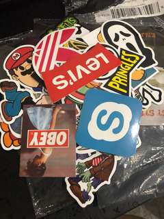 Stickers of brands and cartoons