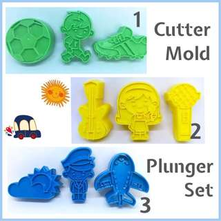 🎂 CUTTER MOLD PLUNGER TOOL SET [ Soccer Ball • Shoes • Boy Player • Guitar • Girl • Microphone • Airplane • Pilot • Clouds]