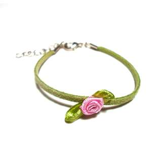 Green leather bracelet with pink rose
