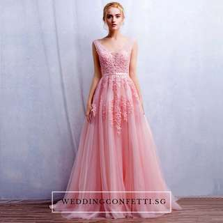 *Brand New* Wedding Bridal Tulle Sleeveless Pink / Grey / Red Lace Floral Gown