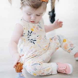 ✔️STOCK - YELLOW WILD FLOWERS JUMPER ONESIE NEWBORN BABY TODDLER GIRL PJ CASUAL ROMPER KIDS CHILDREN CLOTHING