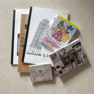 A set of paper stationeries
