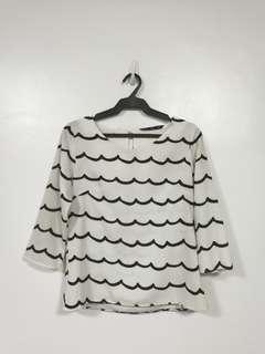 Scallop blouse offwhite