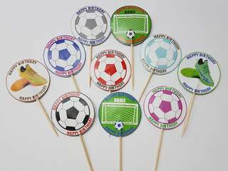 Soccer cupcakes Toothpick Topper