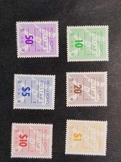 香港第六組欠資郵票6全