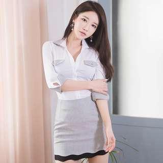 BACKORDER - Josiefine Sleeve Shirt With Skirt Set