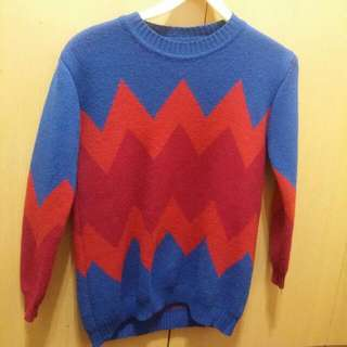 藍橘紅相間紮實毛衣