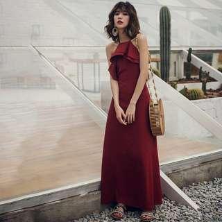 BACKORDER - Suzanna Ruffle Criss Cross Bareback Dress