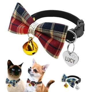 Personalized Puppy Kitten Plaid Bell Bowtie Collar With Custom Engraved Pet Dogs Cats ID Tag Small Cat Dog Collars
