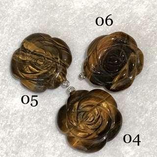 Tiger Eye Flower Carving Pendant