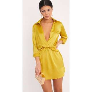 Front Twist Silky Shirt Dress