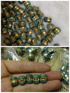 Jade labu Hijau Pekat Lilit Emas 916 Nipis
