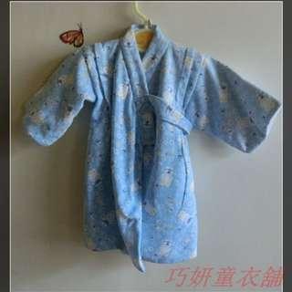 二手藍色刷毛和服 12M