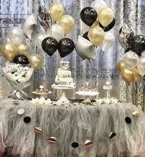 婚禮/派對candy corner銀色桌圍紗x2