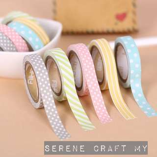 Set of 5pcs Pastel Colors Washi Tape