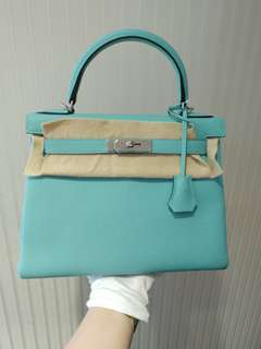 Hermes kelly 28 blue atoll A stamp
